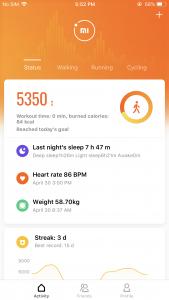 Nová verze aplikace Mi Fit