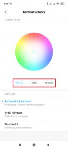 Zvolte pomocí tlačítek požadované podání barev