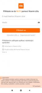 Přihlášení účtem Xiaomi
