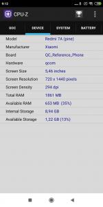 CPU-Z zařízení