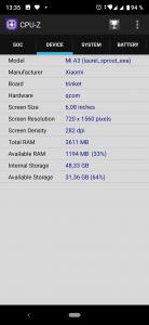 CPU-Z - zařízení