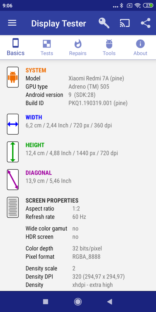 Informace o obrazovce z aplikace Display Tester