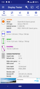 Informace z aplikace Display Test