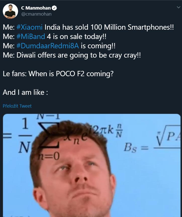 Ředitel POCO India C Manhoman zmínil Pocophone F2