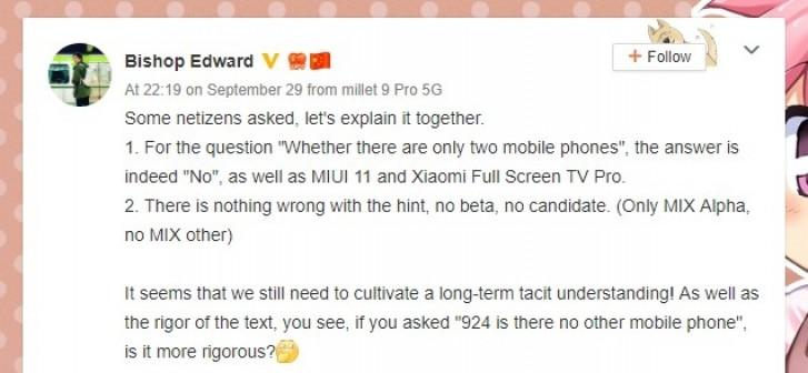 Telefon Xiaomi Mi Mix 4 letos nepřijde, potvrdil manažer propagace