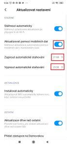 Aktualizovat pomocí mobilních dat