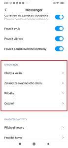 Sekce nastavení pro Messenger