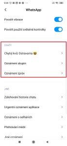 Sekce nastavení pro WhatsApp