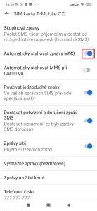 Aktivujte volbu Automaticky stahovAktivujte volbu Automaticky stahovat zprávy MMSat zprávy MMS