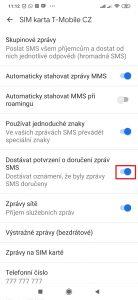 Aktivujte volbu Dostávat potvrzení o doručení zpráv SMS