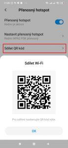 Klepněte na položku Sdílet QR kód