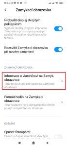 Otevřete položku Informace o vlastníkovi na Zamyk. obrazovce