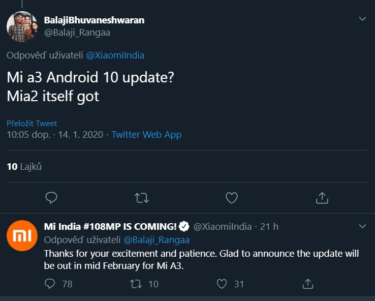 Telefon Xiaomi Mi A3 dostane update na Android 10 až v únoru