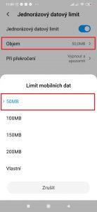U položky Objem nastavte Limit mobilních dat.