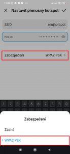 Zabezpečení na WPA2 PSK