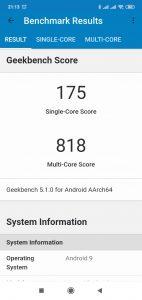 Redmi 8 v Geekbench 5