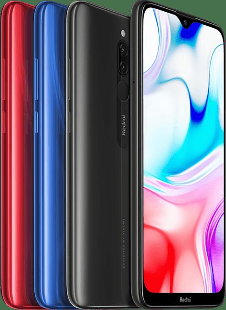 Telefon Redmi 8 nabízíme ve třech barevných variantách: červené, modré, nebo černé