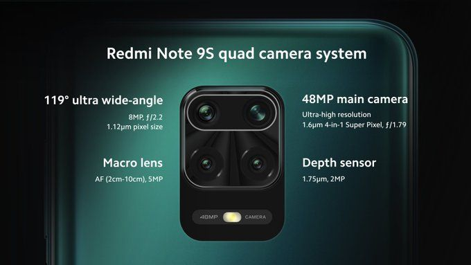 Čtyři fotoaparáty Redmi Note 9S