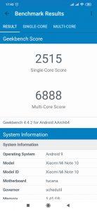 Xiaomi Mi Note 10 - Geekbench 4