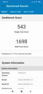 Xiaomi Mi Note 10 - Geekbench 5