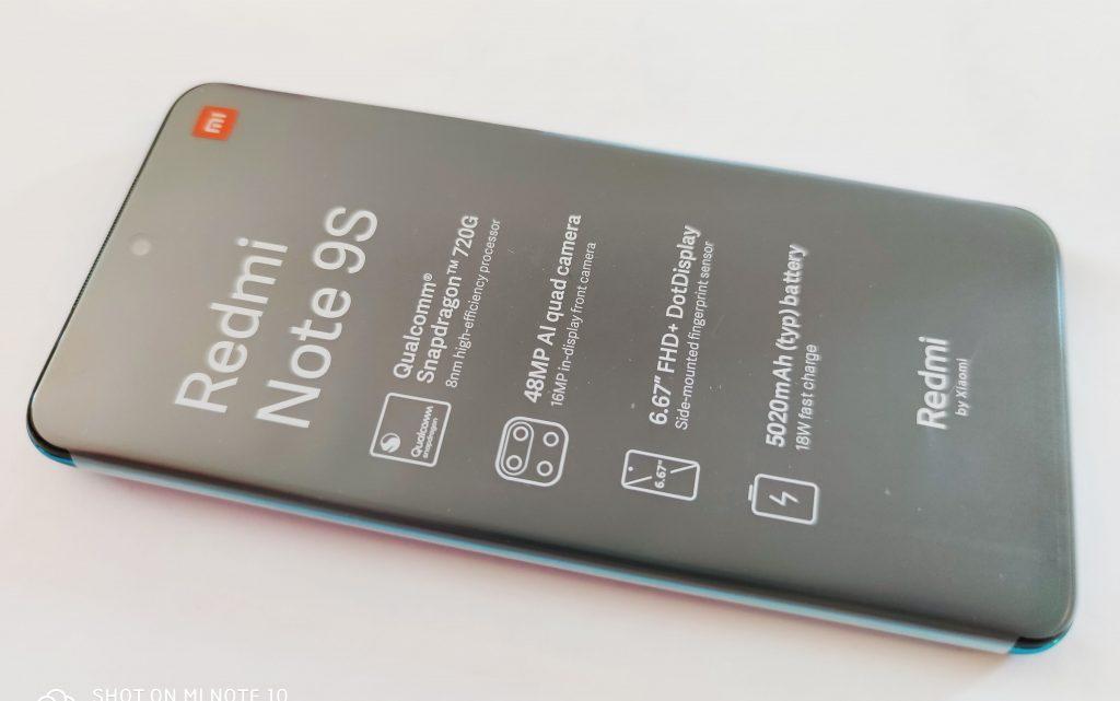 Redmi Note 9S obalený fóliemi