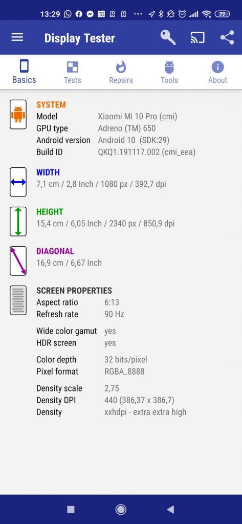 Informace z aplikace Display Tester