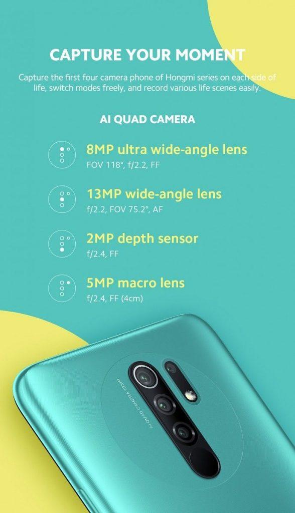 Redmi 9 se čtyřmi fotoaparáty