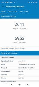 Redmi Note 9 Pro v Geekbench 4