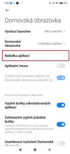 Domovská obrazovka-Nabídka aplikací