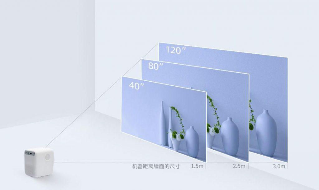 Při promítání ze vzdálenosti 1,5 až 3 metry poskytne obraz s úhlopříčkou od 40 do 120 palců