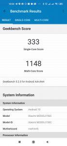 Redmi Note 9 v Geekbench 5
