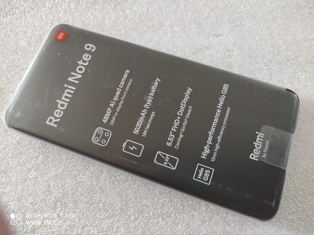Redmi Note 9 v ochranné fólii