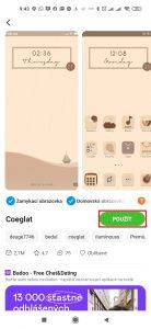 Aplikovat téma můžete klepnutím na tlačítko Použít