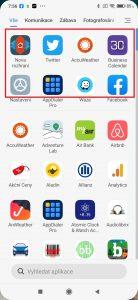 Sekce s doporučenými aplikacemi