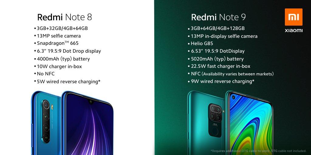 Srovnání Redmi Note 8 a Redmi Note 9