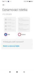 Vyberte Styl oznámení MIUI, nebo Android