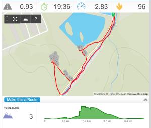 Záznam trasy v aplikaci RunKeeper