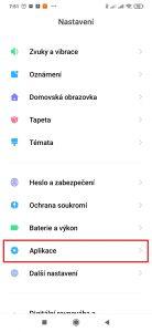 Nastavení-Aplikace