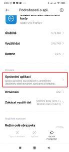 Otevřete Oprávnění aplikací