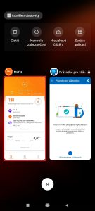 Podržte prst na zmenšeném náhledu aplikace, dokud se nezobrazí nabídka
