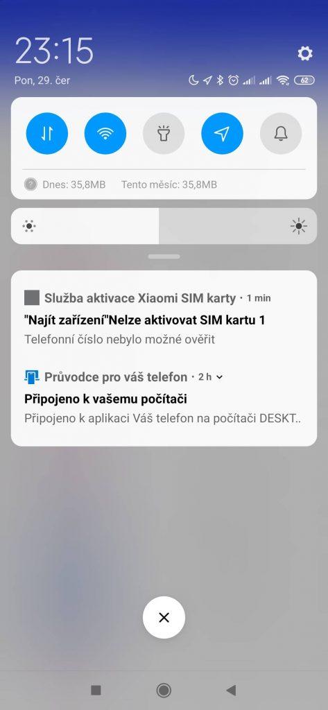 """Služba aktivace Xiaomi SIM Karty. """"Najít zařízení"""" Nelze aktivovat SIM kartu. Telefonní číslo nebylo možné ověřit"""
