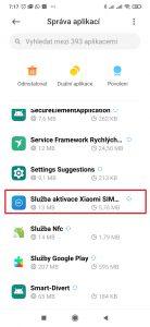 Vyhledejte a otevřete aplikaci Služba aktivace Xiaomi SIM karty