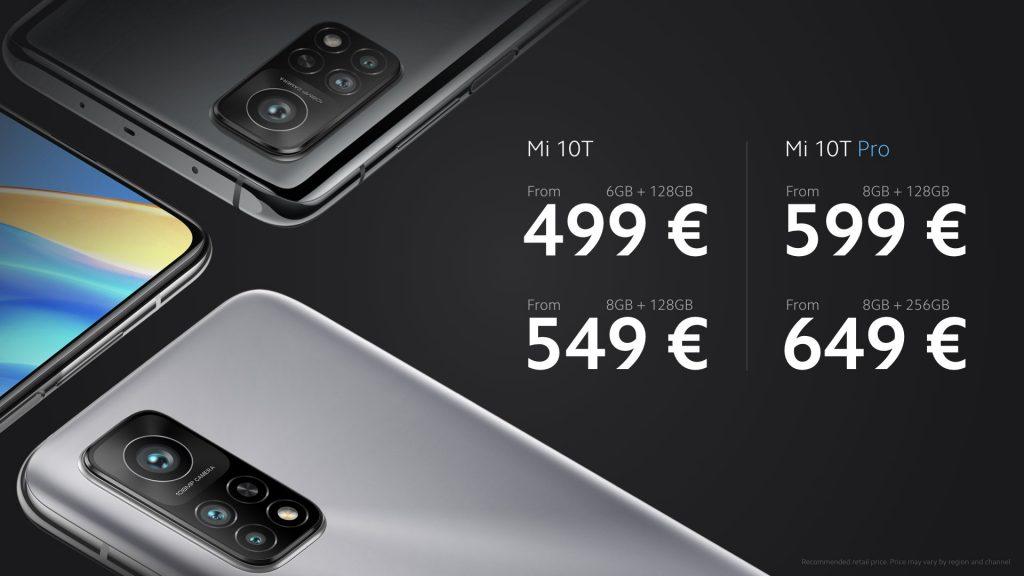 Ceny Mi 10T a Mi 10T Pro