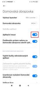 Deaktivujte přepínač Aplikační trezor