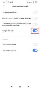 Deaktivujte přepínač Google Discover