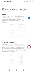Domovská obrazovka s nabídkou aplikací