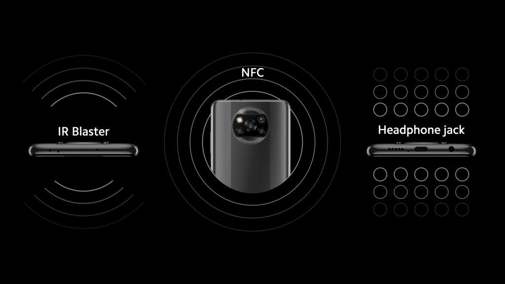 Infračervený vysílač, NFC a 3,5mm konektor