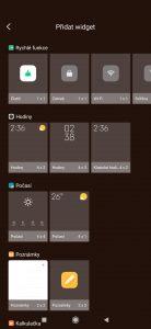 Seznam dostupných widgetů