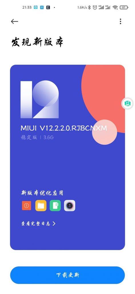 Aktualizace na MIUI 12.2