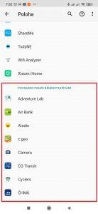 Aplikace, jež mají povolený přístup pouze během používání